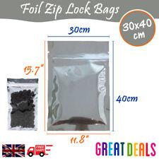 30x40 cm - Clear Silver Zip Lock Aluminium Foil Bag Food Grade Resealable Pouch