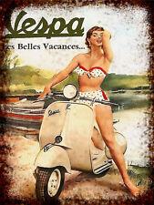 Vespa Pin Up Girl Retro Repro Metal Signs