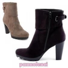 Stivaletti tronchetti scarpe donna scamosciati tacchi alti nuovi LR9011X-28