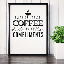 Funny Coffee Drinker Caffeine Typography Poster Print Wall Art 001