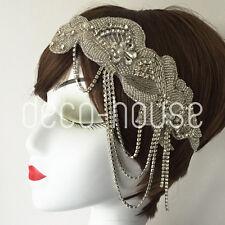 De lujo de diamantes de imitación diamante casco aleta 20s Gatsby Diadema Boda Nupcial