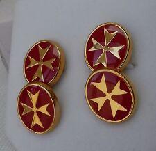9ct 9k 375 Yellow Gold Malta Maltese Cross Solid Cufflinks Black/Red/Whit enamel