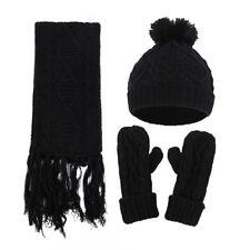 Female Gloves Scarf Hat Stylish Twist Diamond Knit Gloves Scarf Hat Set HO