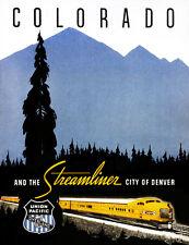 1950's Streamliner - City of Denver - Colorado Train Travel Advertising Poster
