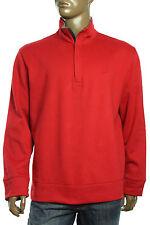 NEW NAUTICA MOCK NECK HALF ZIP JERSEY FLEECE RED PULLOVER SWEATER SWEATSHIRT