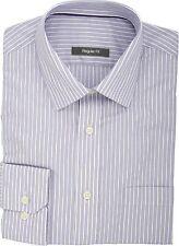 Ex Store Cotton Rich Quick Iron Ladder Stripe Shirt Purple
