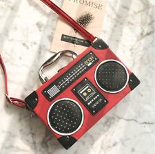 Radio Box Shape Bag Shoulder Retro Vintage Leather Messenger Recorder Handbag