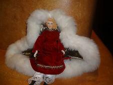 Porcelain Doll Christmas Holiday Dress Red Velvet Cape Faux Fur Trim