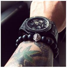 Handgefertigtes Silber Löwen Armband Onyx Zirkonia Buddha Bracelet Fashion