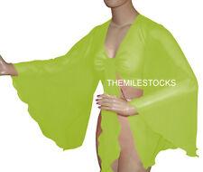 TMS Yellow Green Flair Wrap Top Choli Belly Dance Club Costume Blouse Haut Boho
