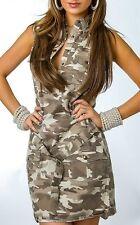 Sexy Miss Ladies Army Camouflage Mini Dress Belt Camo Look 34 36 38 40 New