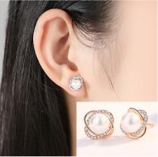925 Sterling silver Clover Rose Cubic Zirconia Pearl Stud Earrings Gift Box K34