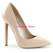 Sexy DECOLTE' tacco 13 dal 35 al 44 NUDO lucido scarpe donna fashion GLAMOUR