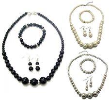 Black Cream Pearl Crystal Necklace Earrings Bracelet Bridal Bridesmaid Women Set