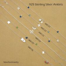 "925 Sterling Silver Chain Anklet Crystal CZ Charm 9"" Ankle Bracelets 8121-26"