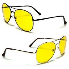 Air Force Neon Yellow Anti Glare HD Lens Aviator Sunglasses for Midnight Driving