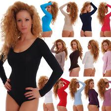 Women Cotton Bodysuit Round Scoop Neck Long Sleeve Thong Body Leotard Top 1370
