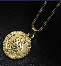Oro Saint Christopher protegernos Colgante Collar St 50 cm cadena vendedor del Reino Unido