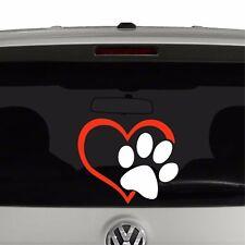 Puppy Dog Paw Print Heart Vinyl Decal Sticker