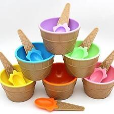 1Set Plastic Ice Cream Bowls Spoons Set Ice Cream Cup Children Dessert Bowl JJ