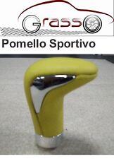 Pomello Auto Isotta Pelle Gialla con inserto cromo