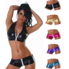 Damen GoGo Hotpants Shorts metallic Reißverschluss sexy Poledance 32 34 36 XS S
