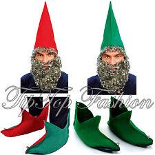 NUOVO GNOMO ELFO ROSSO, VERDE DAWRF Cappello con barba, Rosso Verde Scarpe Da Elfo Costume Set