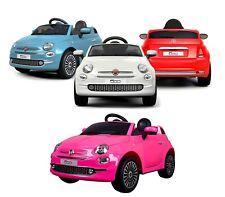 Auto bambini elettrica FIAT 500 cabrio B90106 sedile in pelle 12V telecomando