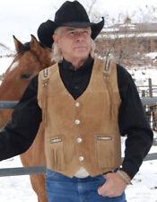 Men Cowboy Western Wear Vest Light Cognac Suede Leather Fringe & Beads Waistcoat