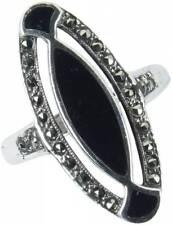 925 ECHT SILBER *** Onyx-Markasit Ring, Größenauswahl