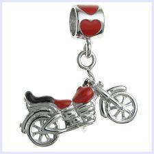 Sterling Silver Cool Motorbike Red Enamel Dangle Bead f/ European Charm Bracelet