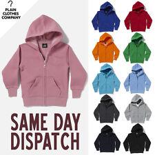 Plain Zipped Hooded Sweatshirt Boys Girls Childrens Kids Hoodie All Colours