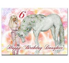 c045; Large Personalised Birthday card; Custom made for any name; Barbie unicorn