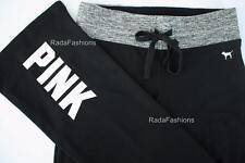 Victoria's Secret PINK Yoga Pant Flat Boot Regular Drawstring Marl Gray Black