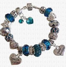 DECEMBER ~ Blue Zircon Swarovski Elements Birthstones Charm Bracelet GIFT BOX
