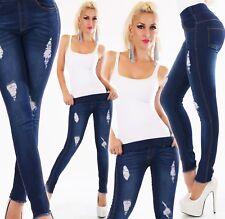 Pantalon Jeans pour Femmes Legging Skinny Denim Stretch Fissures Haute Couleur
