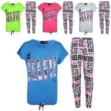 enfants filles # Selfie T-shirt haut & MODE Graffiti ensemble legging 7-13 ans