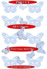 15 Pre-Cut Filigree butterflies Baby Blue edible wafer paper cupcake topper