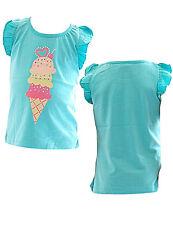 bambina maglia senza maniche stampato t-shirt Camicetta Tunica YG ICECREAM