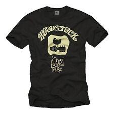 Vintage Musik Herren T-Shirt mit Woodstock Gitarre- Männer Hippie Band Shirt