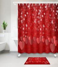 Valentine Shower Curtain Bathroom Waterproof Fabric 12 Hooks Bath Mat 6408