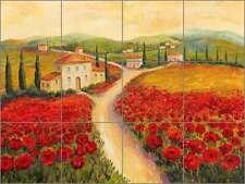 Ceramic Tile Mural Backsplash Morris Tuscan Villa Landscape Art JM070