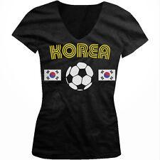 Korea Soccer Ball Flag - Pride Korean Nationality Juniors V-neck T-shirt