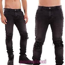 Jeans uomo pantaloni strappi slim ginocchiere denim casual nuovi XSF31-105
