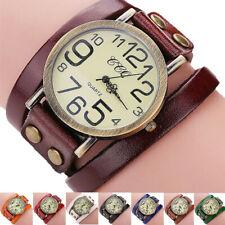 New Men Women Wristwatch Vintage Cow Leather Band Bracelet Quartz Analog Watch