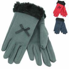 Fur Cuffs Gloves Hawkins Lined Bow Ladies Womens warm