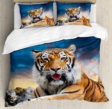 Tiger Duvet Cover Set with Pillow Shams Calm Wild Animal Sunset Print