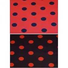 25 mm Rojo Y Negro A Lunares Manchas Tela polycotton