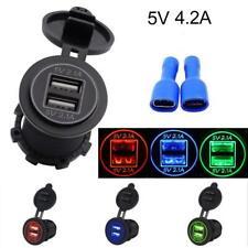 5V 2.1A Dual USB Charger Socket Adapter for 12V 24V Motorcycle Car GA