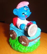 Baby Smurf Smurffette Driving a Log Car Figurine 1999 Peyo